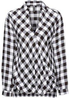 Блузка с эффектом запаха (черный/белый в клетку) Bonprix