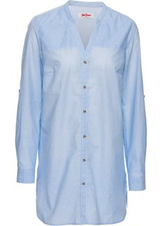 Удлиненная блуза с длинным рукавом (белый/синий жемчуг в полоску) Bonprix