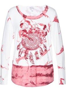 Трикотажная туника с принтом (ярко-розовый матовый/цвет белой шерсти) Bonprix