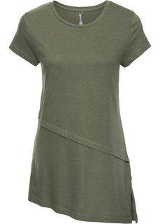 Асимметричная футболка (оливковый) Bonprix