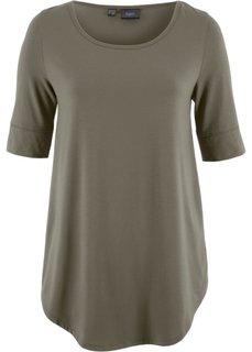 Удлиненная вискозная футболка (темно-оливковый) Bonprix