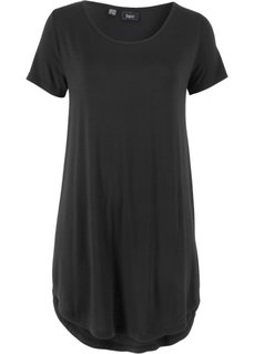 Длинная футболка с коротким рукавом (черный) Bonprix