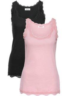 Трикотажная майка-лапша (2 штуки в упаковке) (розовая пудра / черный) Bonprix