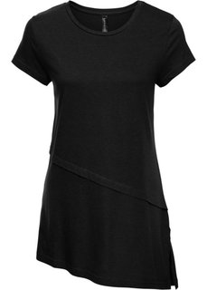 Асимметричная футболка (черный) Bonprix