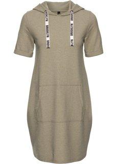 Трикотажное платье с капюшоном (оливковый меланж) Bonprix