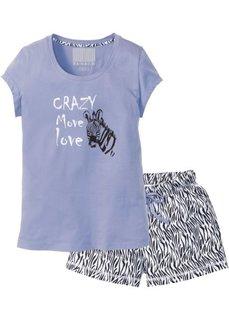 Пижама с шортами (лавандовый/черный/белый с рисунком) Bonprix