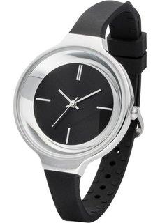 Часы на узком силиконовом браслете (черный/серебристый) Bonprix