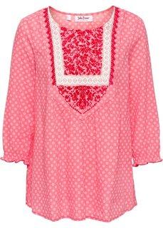 Туника с принтом и рукавом 3/4 (нежный ярко-розовый/цвет белой шерсти с рисунком) Bonprix