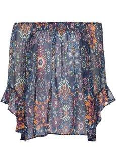 Блузка с вырезом-кармен (темно-синий/желтый/лиловый с узором) Bonprix