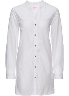 Удлиненная блуза с длинным рукавом (белый) Bonprix
