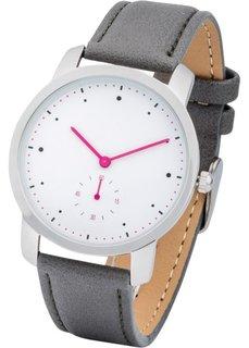 Часы с контрастными стрелками (серый/ярко-розовый) Bonprix