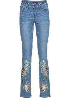 Джинсы Slim Fit с вышивками по краям брючин (голубой) Bonprix