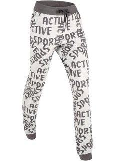 Длинные спортивные брюки (светло-серый меланж с рисунком) Bonprix