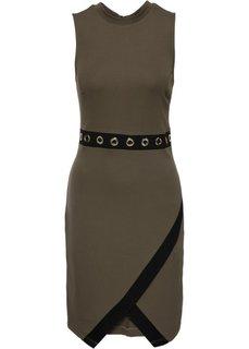 Платье с люверсами в талии (оливковый) Bonprix