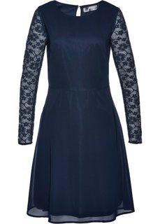 Платье с кружевными рукавами (темно-синий) Bonprix
