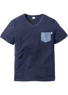 Футболка Regular Fit с нагрудным карманом (темно-синий) Bonprix
