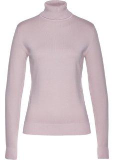 Пуловер с высоким воротником (розовый) Bonprix