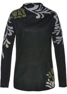 Пуловер (черный/темно-оливковый) Bonprix