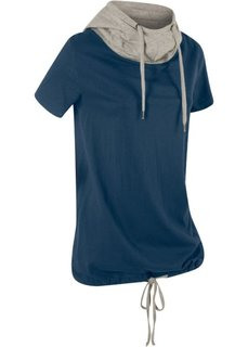 Футболка со шнурками для завязывания и коротким рукавом (темно-синий) Bonprix
