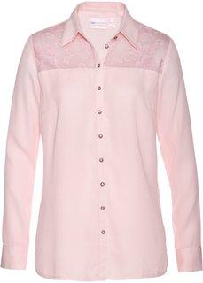 Блузка с кружевной вставкой (нежно-розовый) Bonprix
