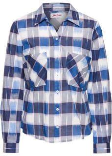 Клетчатая блузка с длинным рукавом (синий в клетку) Bonprix