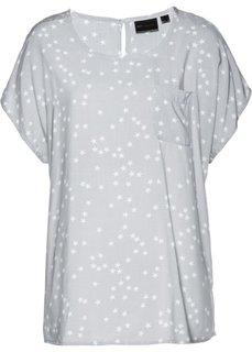 Блузка (серебристый матовый/белый с рисунком) Bonprix