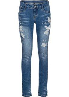 Джинсы с вышивкой (синий «потертый») Bonprix