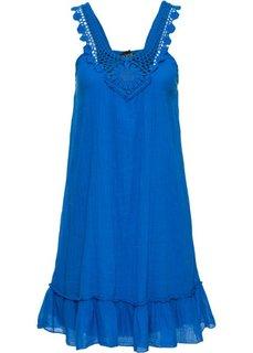 Платье с кружевной отделкой в области выреза (синий) Bonprix
