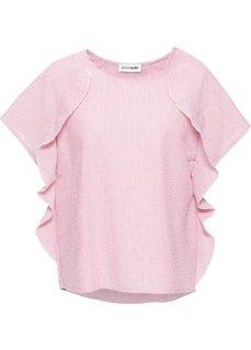 Полосатая блузка с воланами (розовый/белый в полоску) Bonprix
