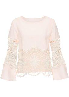 Блузка с вязаным кружевом (нежно-розовый/кремовый) Bonprix