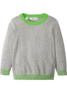 Вязаный пуловер (светло-серый меланж/ярко-зеленый) Bonprix