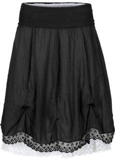 Двухслойная юбка (черный/белый) Bonprix