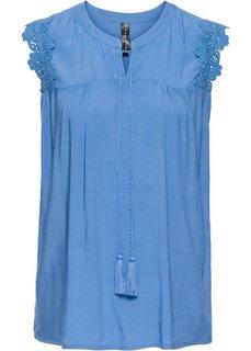 Блузка без рукавов (голубой) Bonprix
