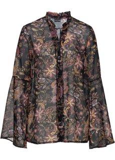 Блузка с лентами для завязывания (черный с рисунком) Bonprix