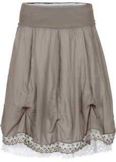 Двухслойная юбка (серо-коричневый/белый) Bonprix