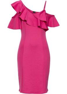 Платье с воланами (горячий ярко-розовый) Bonprix