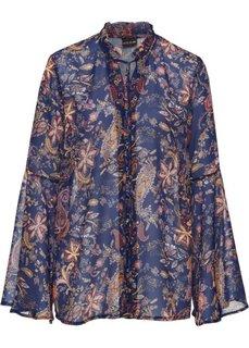 Блузка с лентами для завязывания (синий с рисунком) Bonprix