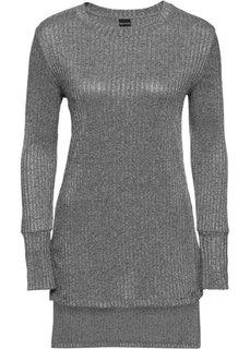Длинная футболка в рубчик (серый меланж) Bonprix
