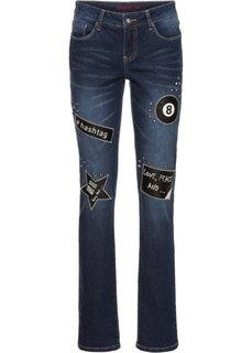 Узкие джинсы с нашивками и заклепками (темный деним) Bonprix