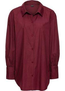 Рубашка-оверсайз с широкими манжетами (кленово-красный) Bonprix