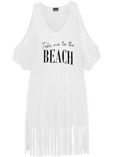 Пляжная футболка с бахромой (белый) Bonprix