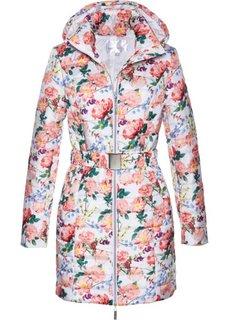 Удлиненная стеганая куртка (белый с рисунком) Bonprix