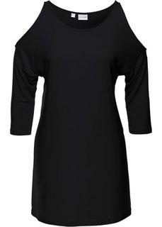 Удлиненная футболка с вырезами в области плеч (черный) Bonprix