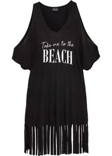 Пляжная футболка с бахромой (черный) Bonprix