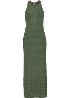Вязаное платье (зеленый мох) Bonprix