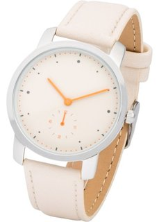 Часы с контрастными стрелками (бежевый/серебристый) Bonprix
