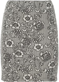 Мини-юбка из эластичного жаккарда (цвет белой шерсти с узором) Bonprix