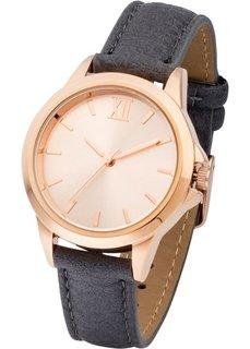 Часы на классическом браслете (серый/розово-золотистый) Bonprix
