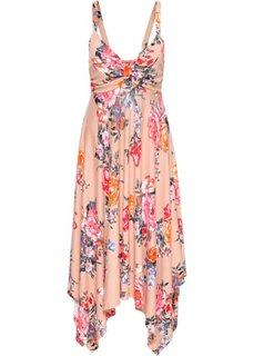 Трикотажное платье с асимметричной юбкой − классика гардероба (розовый в цветочек) Bonprix