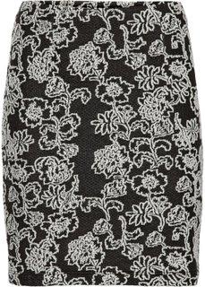 Мини-юбка из эластичного жаккарда (черный с узором) Bonprix